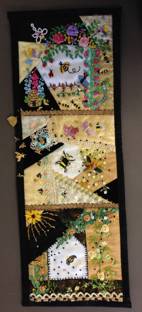 Jacqui Anderson's crazy quilt wall hanging
