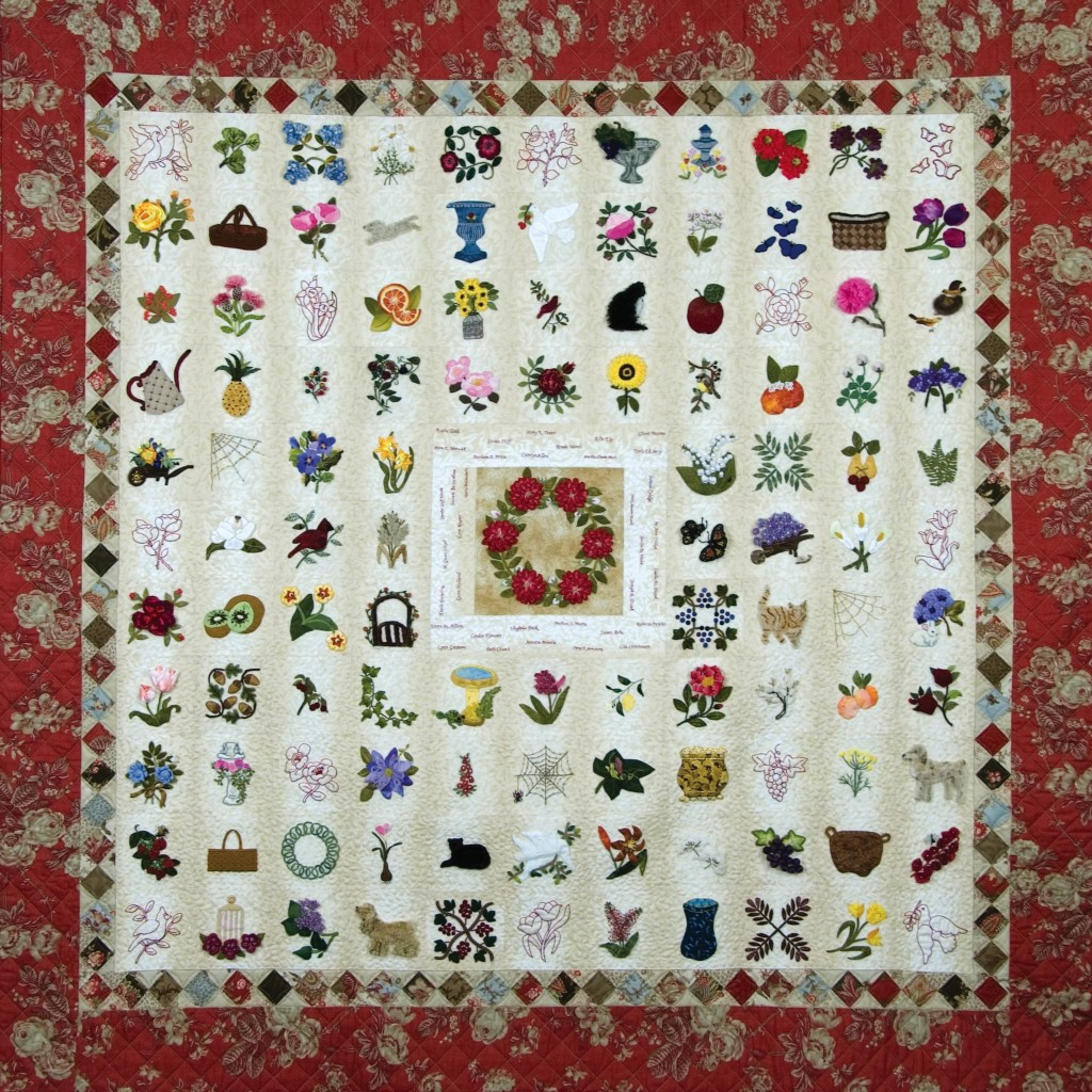 "Amuse-Bouche, found in ""The Art of Elegant Hand Embroidery..."", p. 226. A sampler quilt with 112 4-inch blocks. It was featured in ""500 Traditional Quilts"" by Karey Patterson."