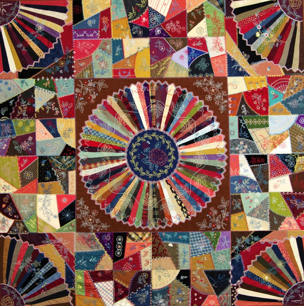 "A Quilt to Dream Under, found in ""Embroidery & Patchwork Revisited"", p. 94. An elegant, updated version of the classic crazy quilt.."