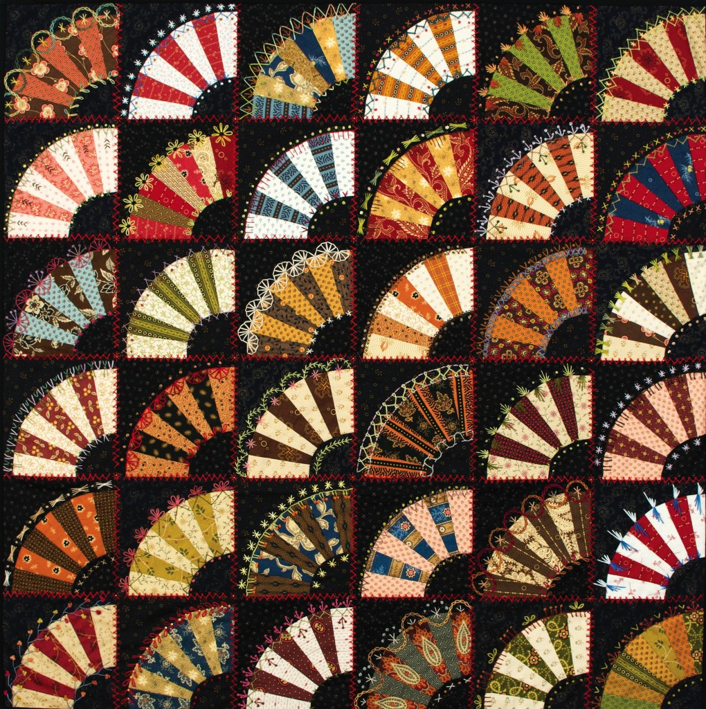 Fan Favorite, found in Embroidery & Patchwork Revisited, p. 88. Inspired by an antique quilt, this Fan Favorite features 36 pieced fans embellished with hand embroidered combination stitches.