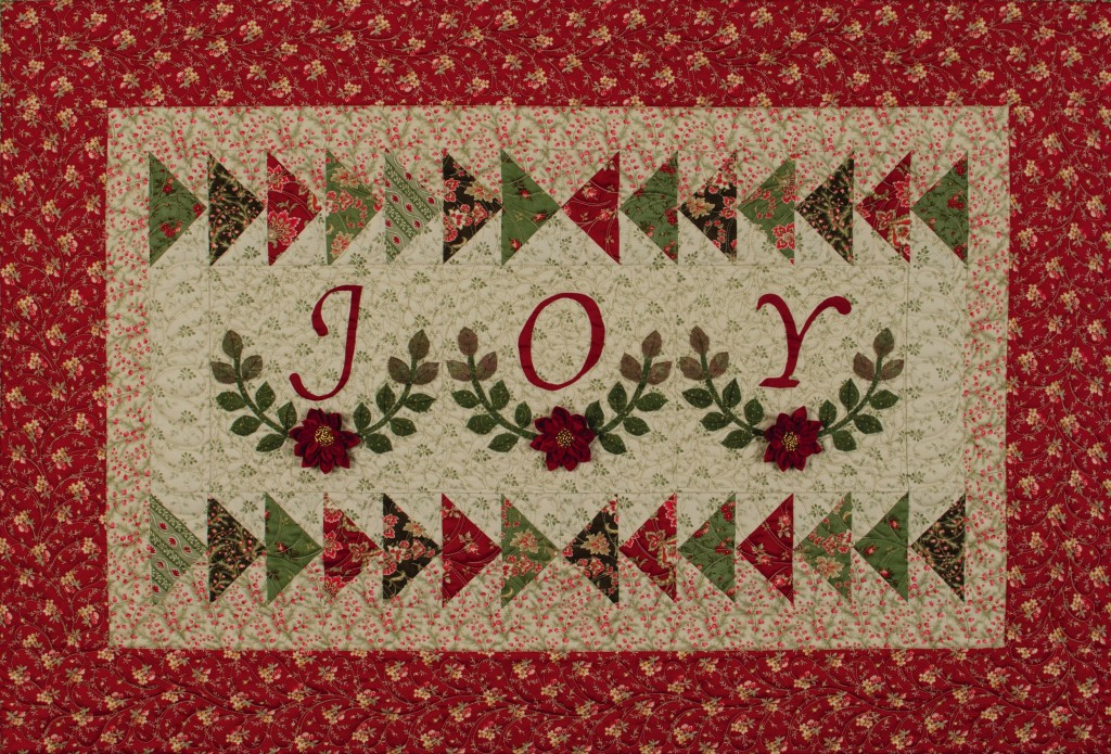 "Christmas Joy, found in ""Embroidery & Patchwork Revisited"", p. 120. Simple piecing, appliqué and embellishing."