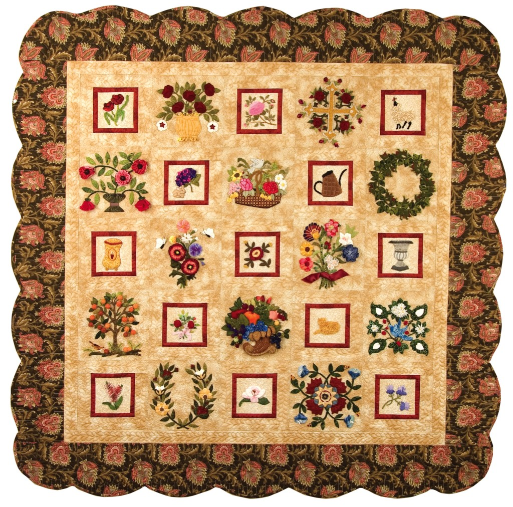 "Olde World Charm, found in ""The Art of Elegant Hand Embroidery..."", p. 236. This sweet quilt features 13 4-inch blocks and 12 8-inch blocks."