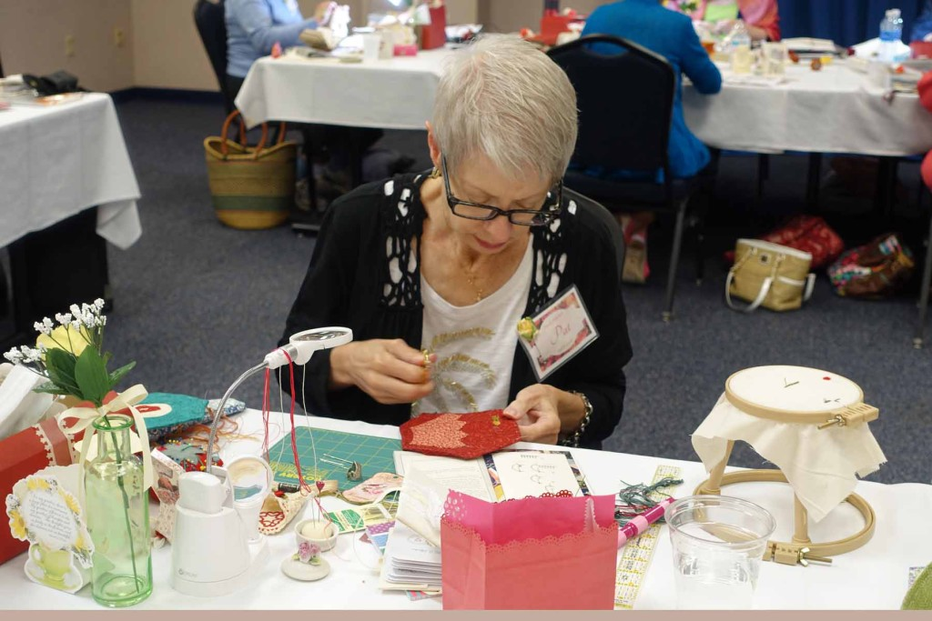 Class project underway, 2016 Spring Tea & Stitches