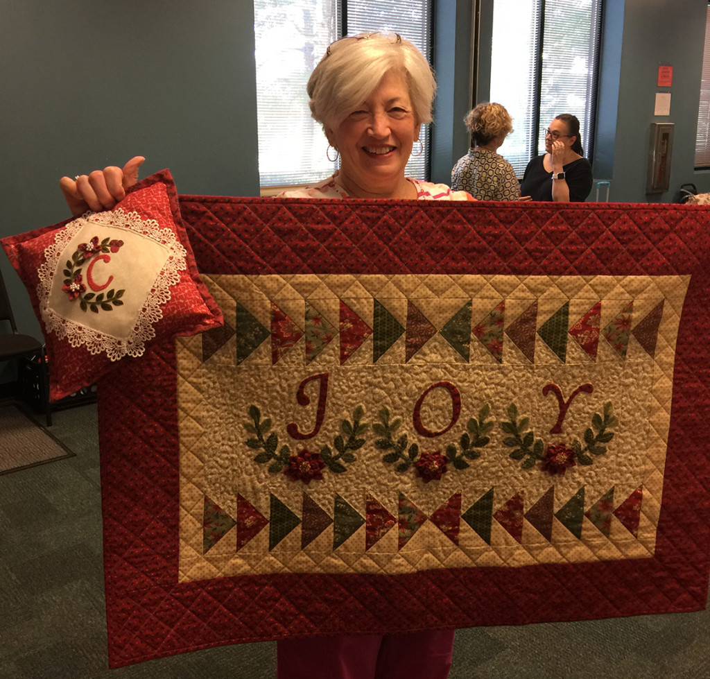 Wanda's Christmas Joy and small pillow from Embroidery & Patchwork Revisited
